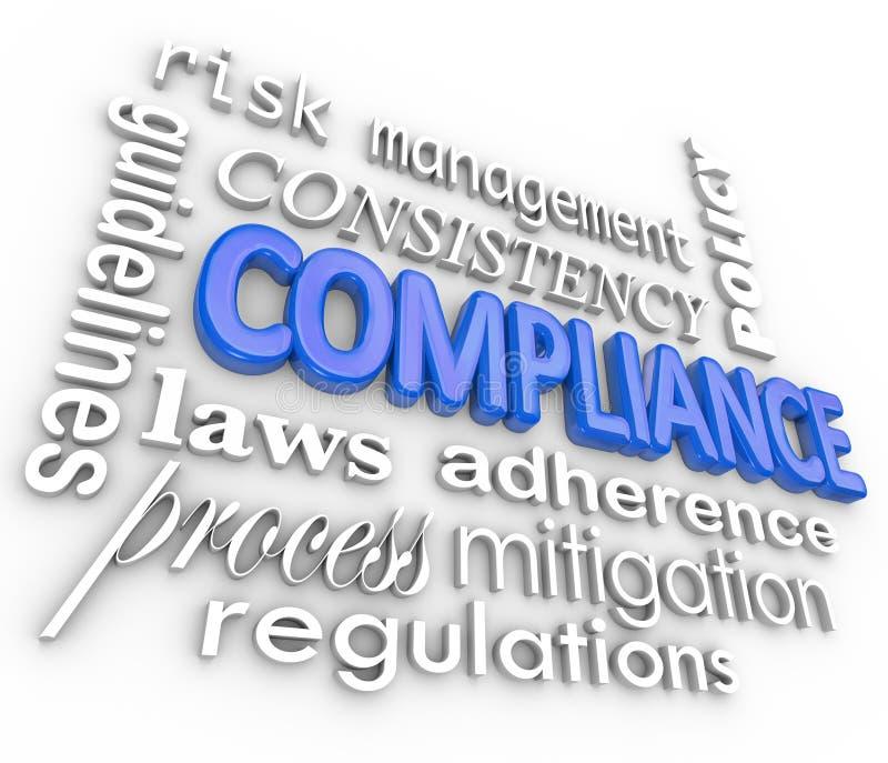Adherencia de las regulaciones legales del fondo de la palabra de la conformidad ilustración del vector