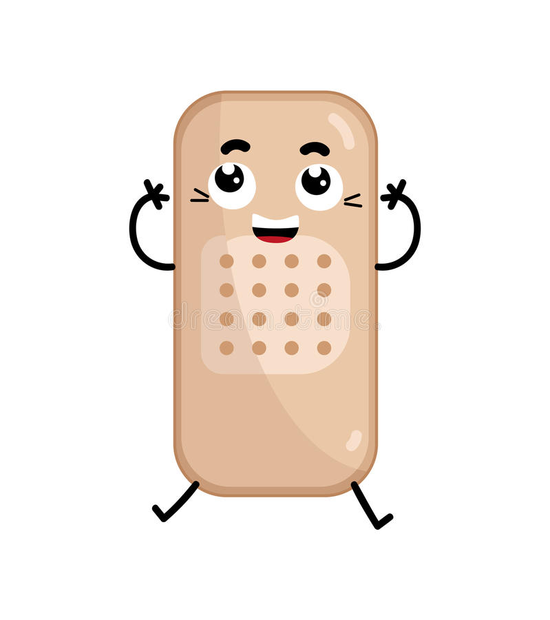 Adhesive Bandage Cute Cartoon Character Stock Vector ...