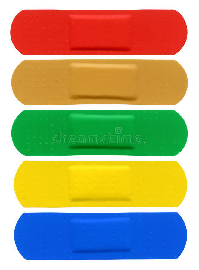 Adhesive Bandages. Different color adhesive bandages isolated on white stock photography
