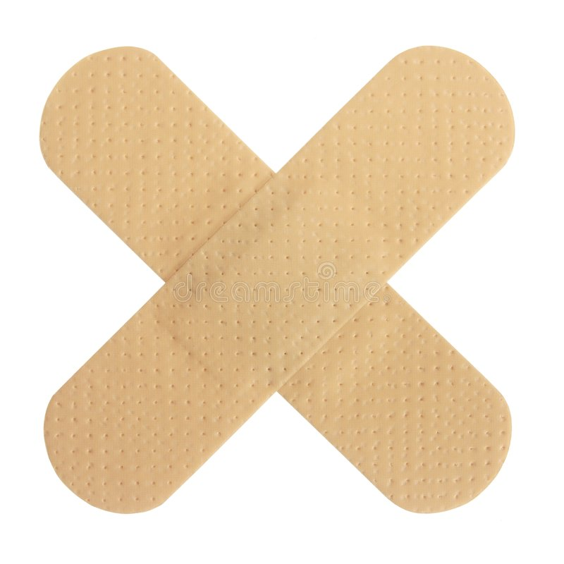 Adhesive Bandages. Highly detailed adhesive bandages crossing each other, isolated on white royalty free stock photos