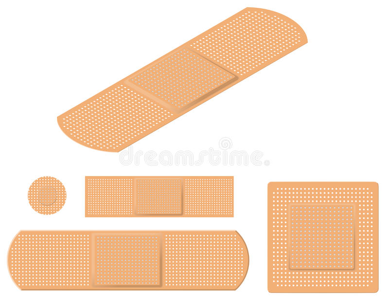 Adhesive Bandages. An Assortment of Adhesive Bandages stock illustration