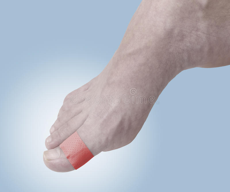 Adhesive Healing plaster on foot ancle.