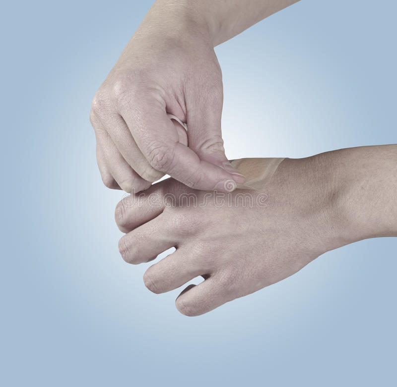 Download Adhesive Healing Plaster On Hand. Stock Photo - Image: 28016824