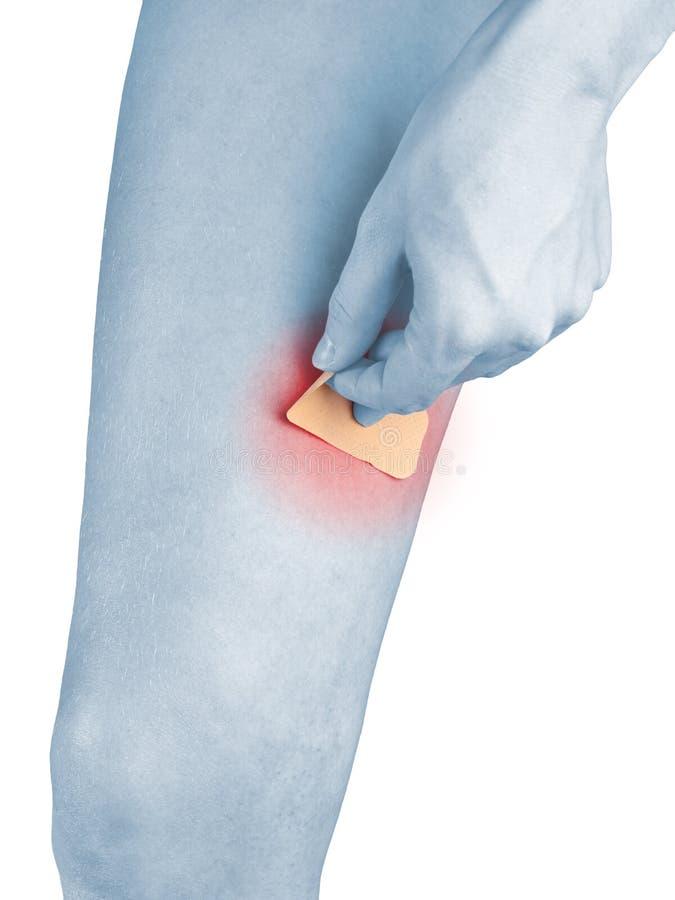 Download Adhesive Healing Plaster On Leg. Stock Image - Image: 28217913