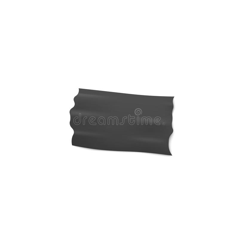 Adhesive or insulation wide black tape piece 3d realistic vector illustration. vector illustration