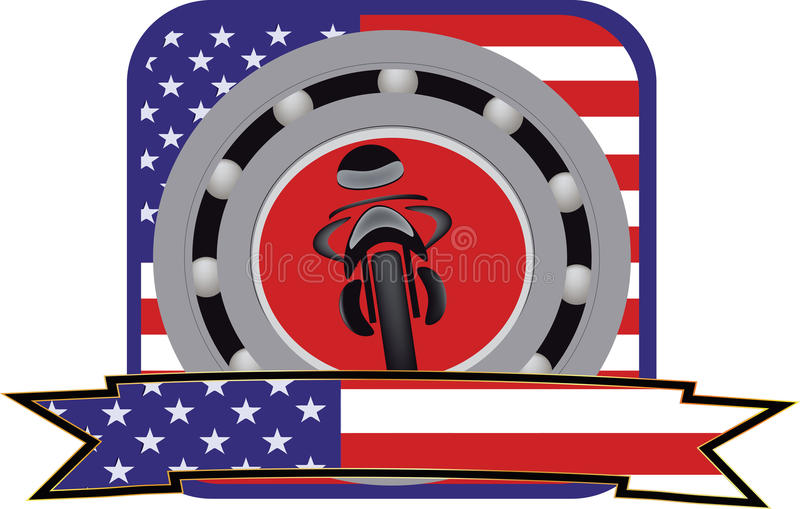 Adhesive motorcycle. With the image of the American flag vector illustration