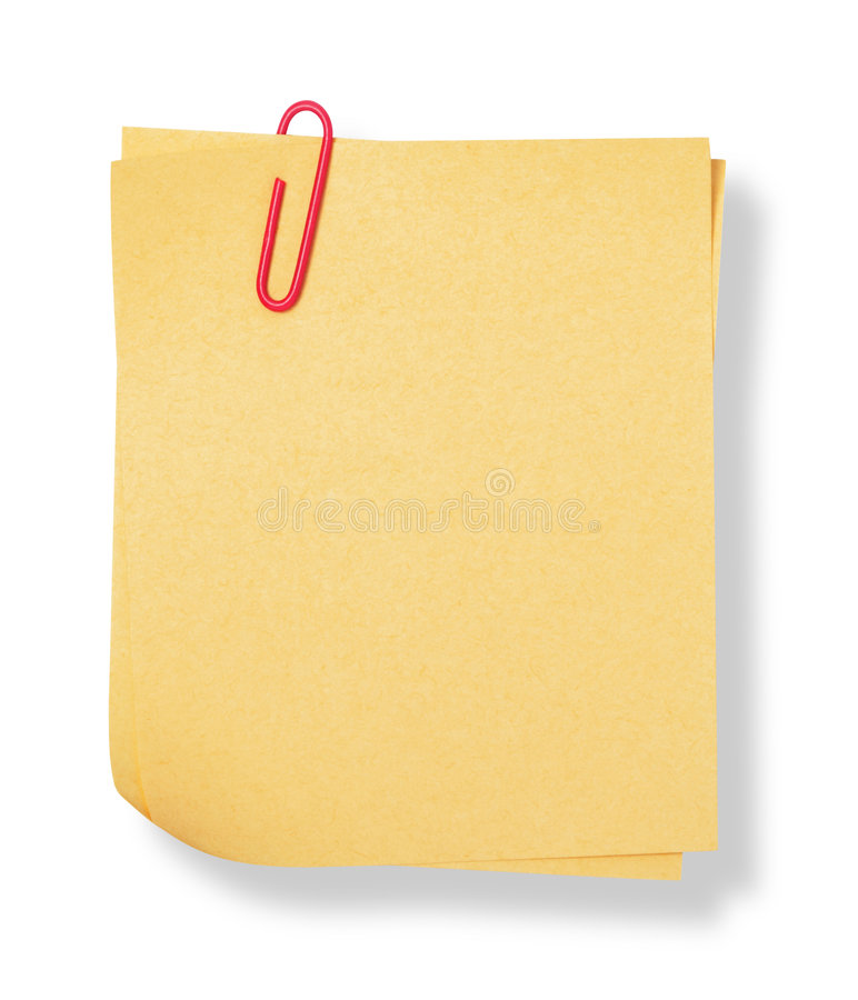 Adhesive note. With shadow on white background stock photography
