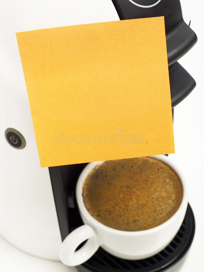 Adhesive note on coffee maker royalty free stock images
