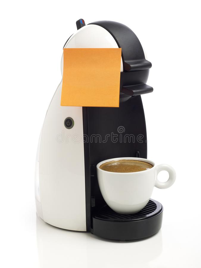 Adhesive note on coffee maker royalty free stock photos