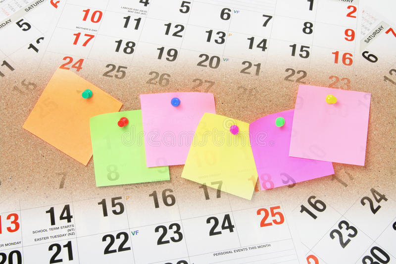 Adhesive Note Papers and Calendar Pages. Composite of Adhesive Note Papers and Calendar Pages stock photo