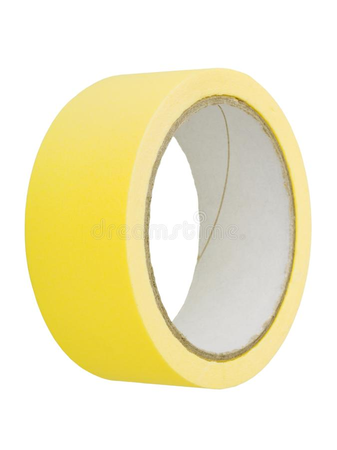 Adhesive tape. Roll of yellow adhesive tape isolated on white background stock photos