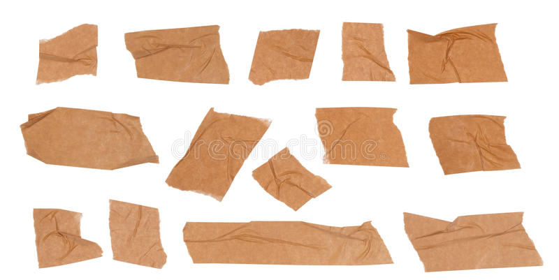 Adhesive tape. Pieces of adhesive tape isolated on white background royalty free stock photos