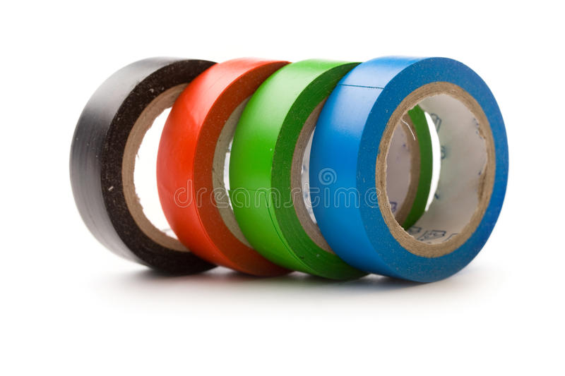 Adhesive tape. Isolated on white stock images