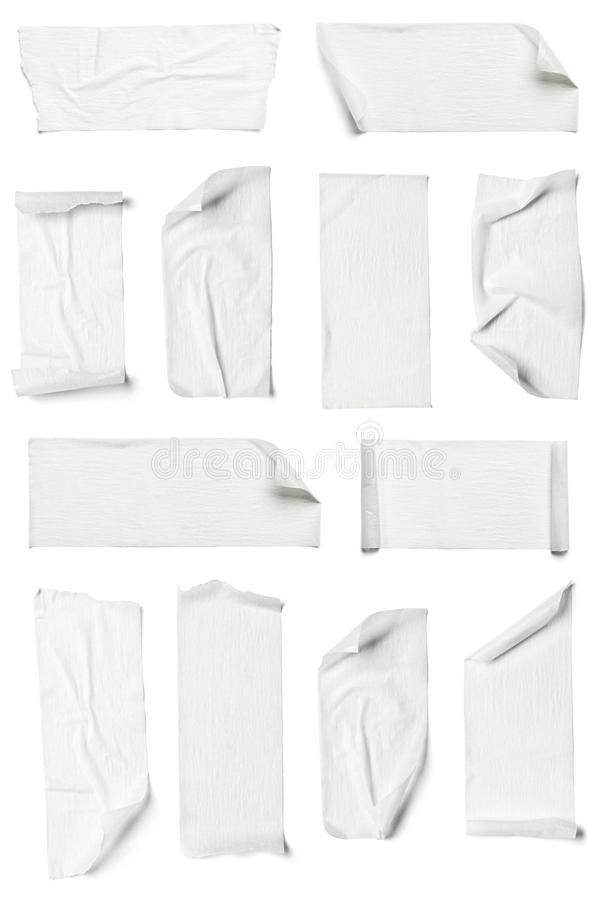 Adhesive tape. Collection of various adhesive tape pieces on white background. each one is shot separately stock images