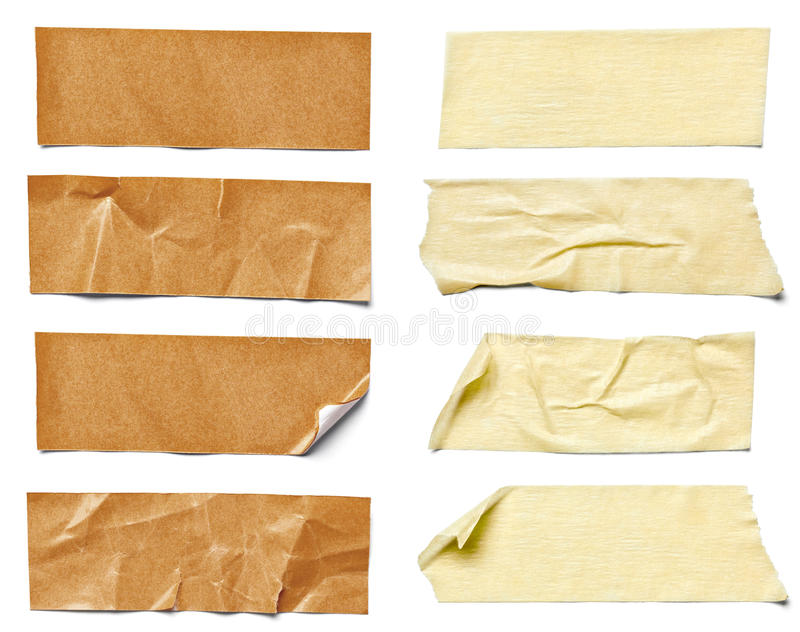 Adhesive tape. Collection of various adhesive tape pieces on white background. each one is shot separately stock photos