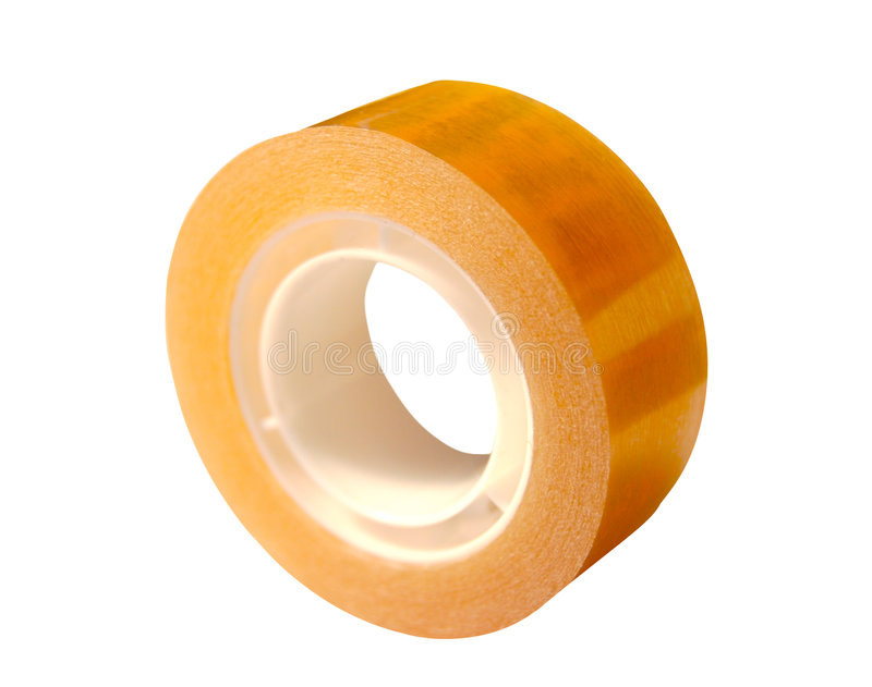 Adhesive tape. Isolated on white stock photography