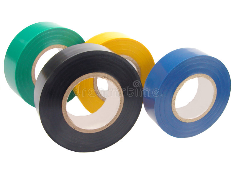 Adhesive tape. Rolls of adhesive tape over white stock image