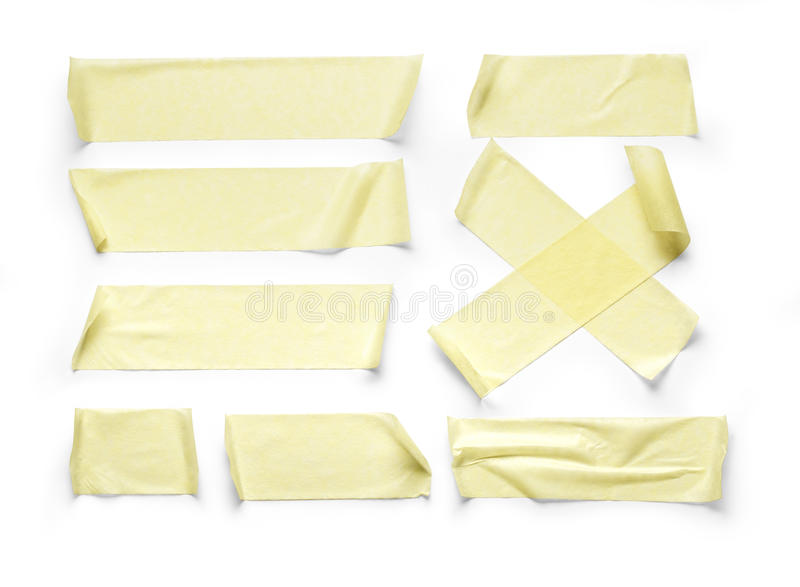 Adhesive tape. Collection of various adhesive tape pieces on white background.with clipping path stock photos
