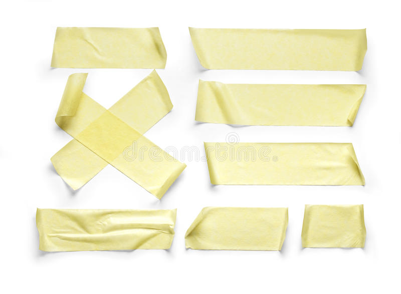 Adhesive tape. Collection of various adhesive tape pieces on white background.with clipping path stock images