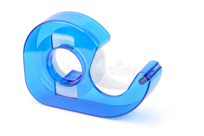 Adhesive tape dispenser. Blue adhesive tape dispenser isolated on white royalty free stock images
