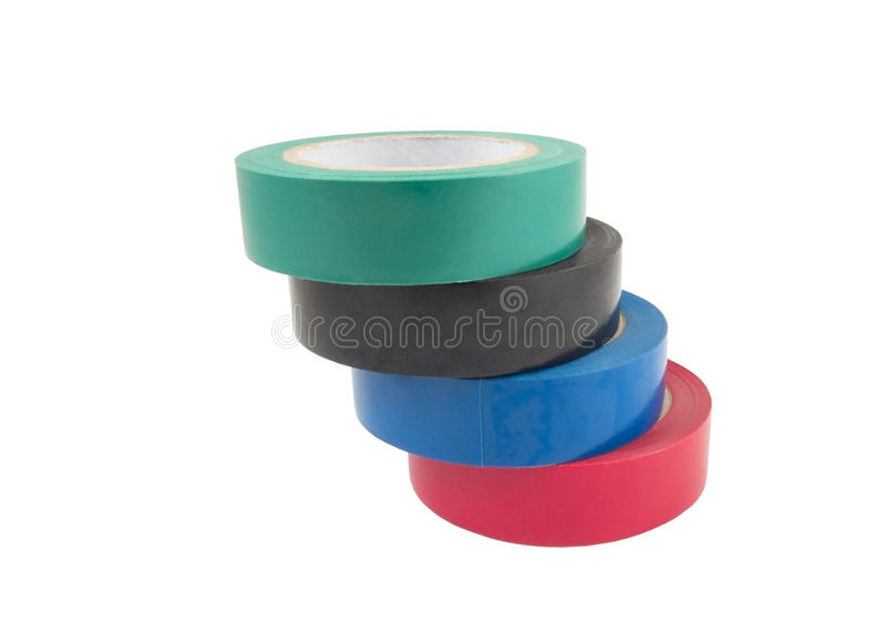 Adhesive tape isolated on white. Colored adhesive tape on a white background. Isolated royalty free stock images