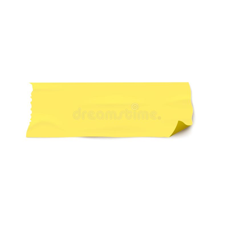 Adhesive wide yellow tape torn piece 3d realistic vector illustration isolated. royalty free illustration