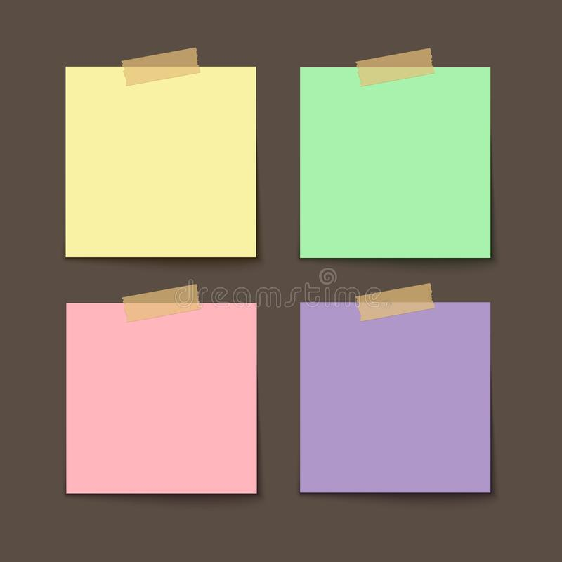 Adhezyjny nutowy majcher Pusty biuro papier dla zawiadomienia Opróżnia papierowego majcheru ilustracja wektor