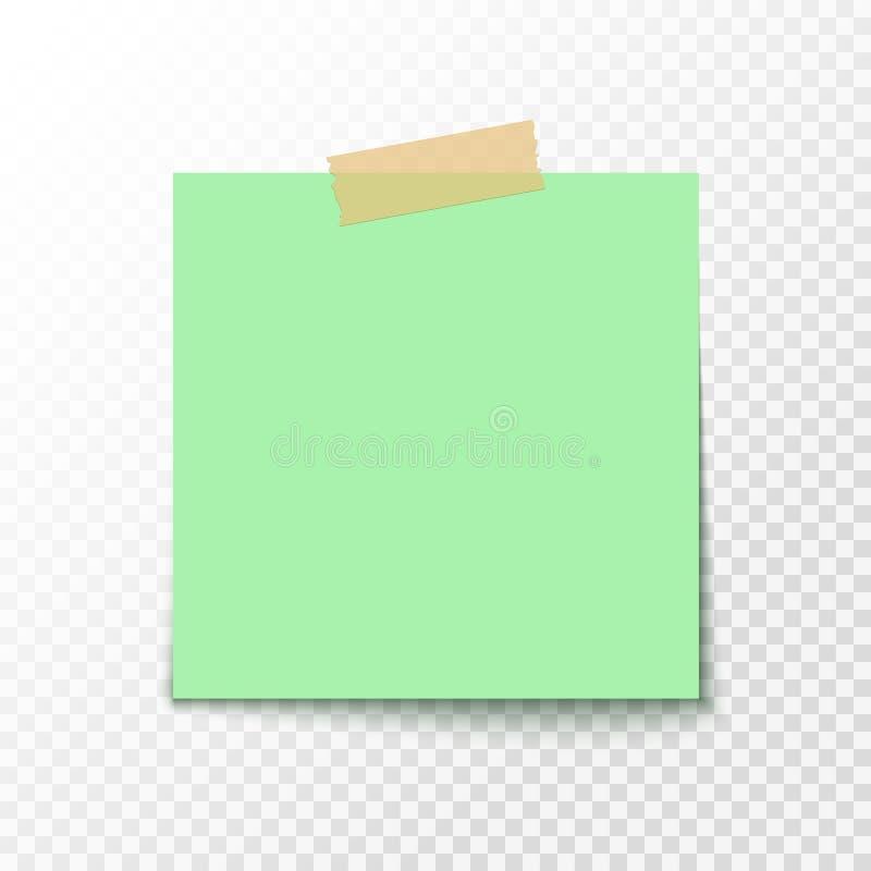 Adhezyjny nutowy majcher Pusty biuro papier dla zawiadomienia Opróżnia papierowego majcheru ilustracji