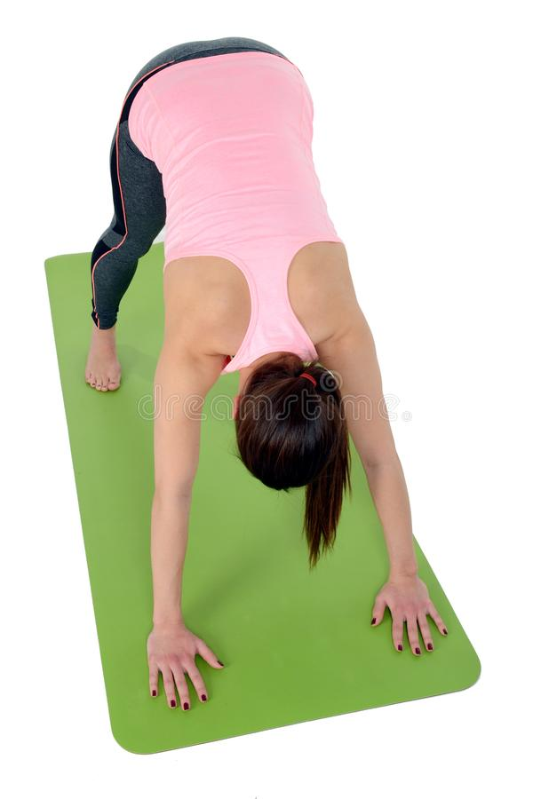 Adho Mukha Svanasana , is also called Downward-Facing Dog Pose, Downward Dog, or Down Dog is an asana. Young woman dooing yoga asana Adho Mukha Svanasana , is royalty free stock photos