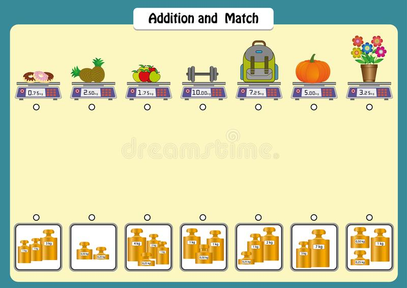 a adição e combina os pesos dos objetos, folhas da matemática para crianças, escalas e pesos ilustração royalty free