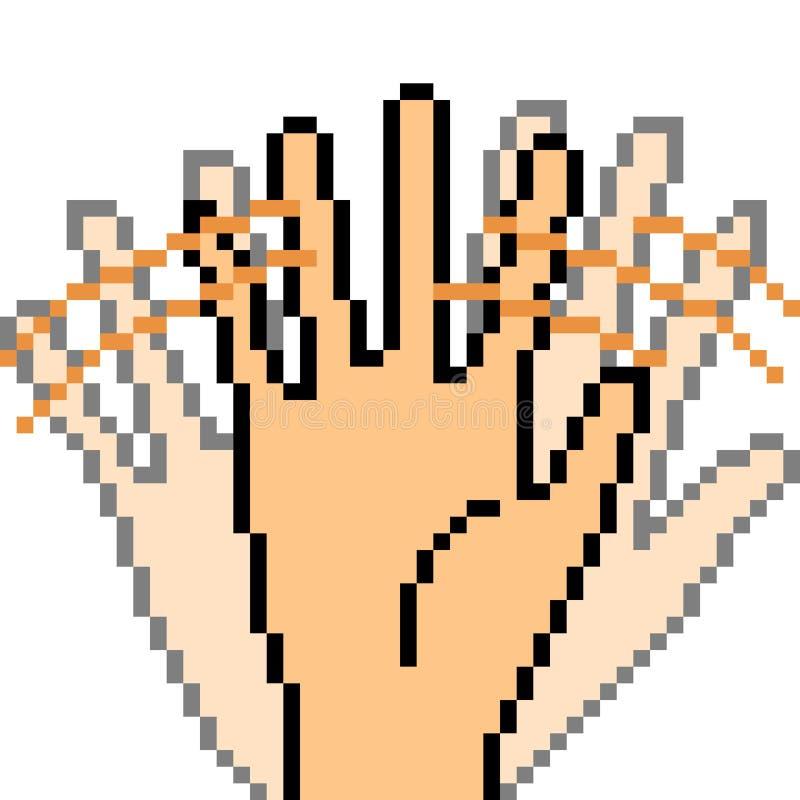 Adiós de la muestra de la mano del arte del pixel del vector ilustración del vector