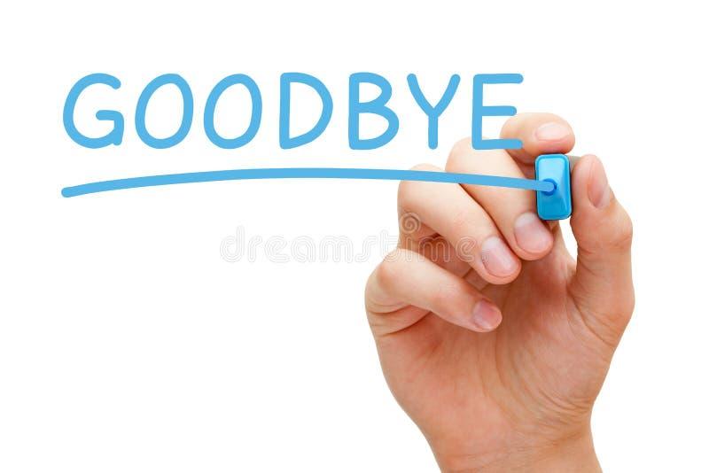 Adiós marcador azul imagen de archivo