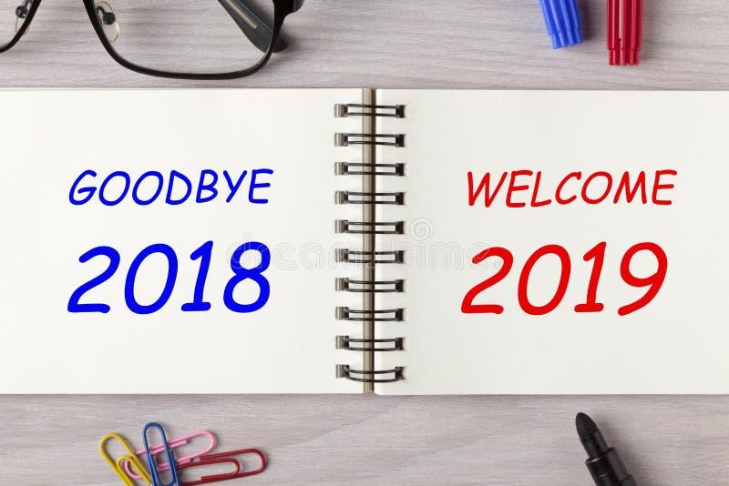 Adiós 2018 recepción 2019 imágenes de archivo libres de regalías