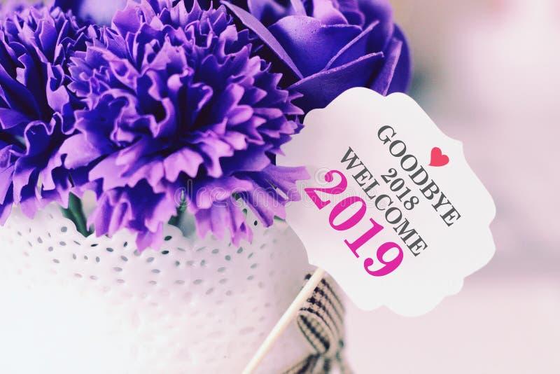 Adiós 2018 recepción 2019 con la decoración imagenes de archivo