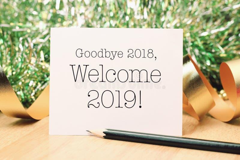 Adiós 2018 recepción 2019 con la decoración fotos de archivo