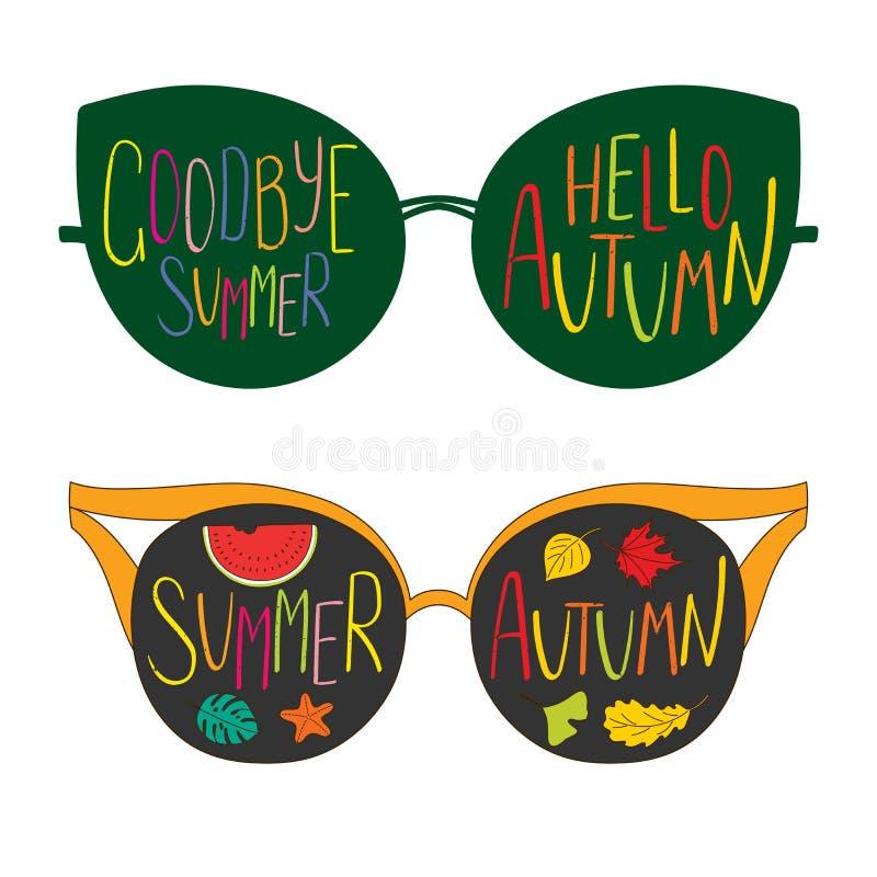 Adiós verano, hola vidrios del otoño ilustración del vector