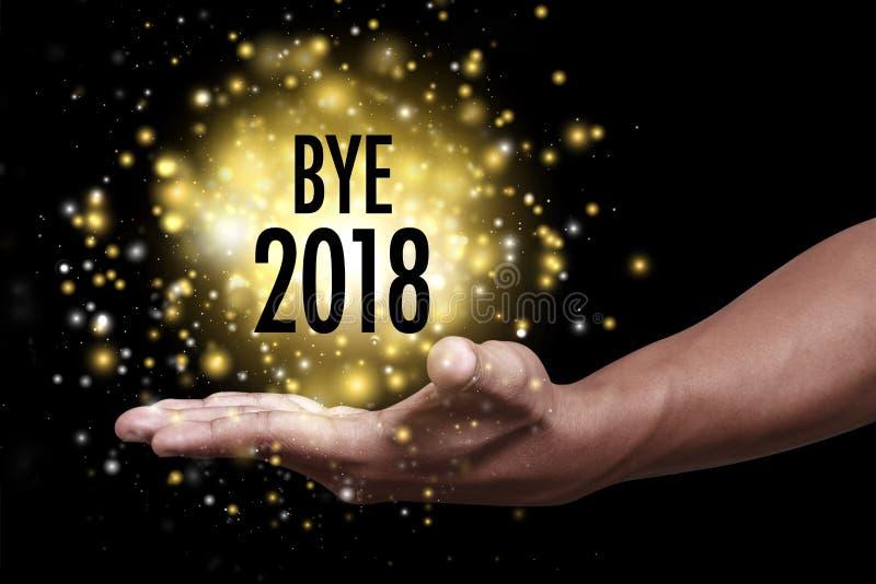 Adiós 2018 y recepción 2019 fotografía de archivo libre de regalías
