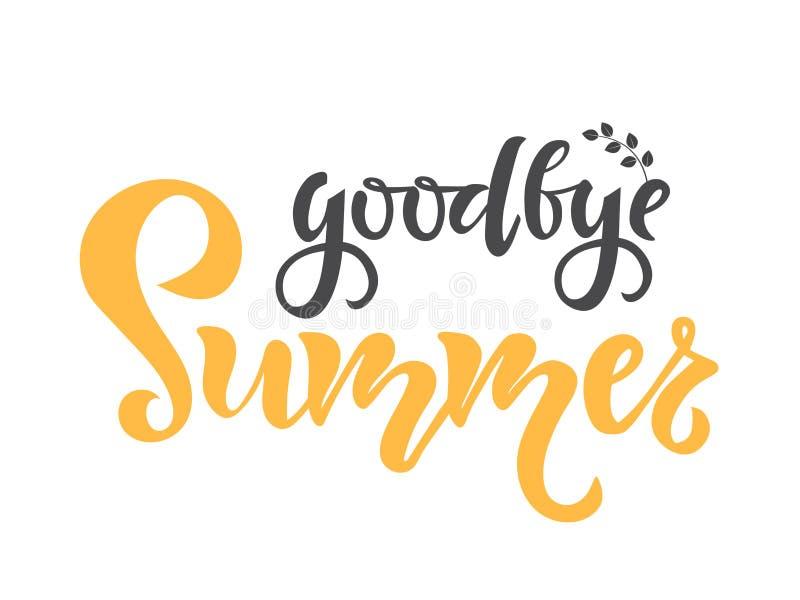 Adi?s texto del verano Caligrafía, letras, diseño de la cita Tipografía para las tarjetas, los carteles y las banderas de felicit stock de ilustración