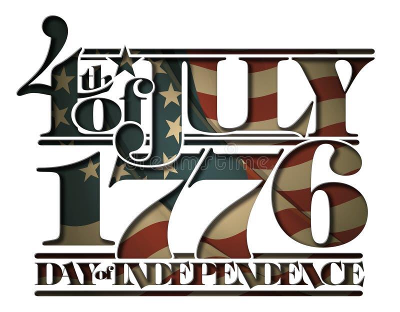 Adiante de julho de 1776 Doay do entalhe da independência ilustração royalty free