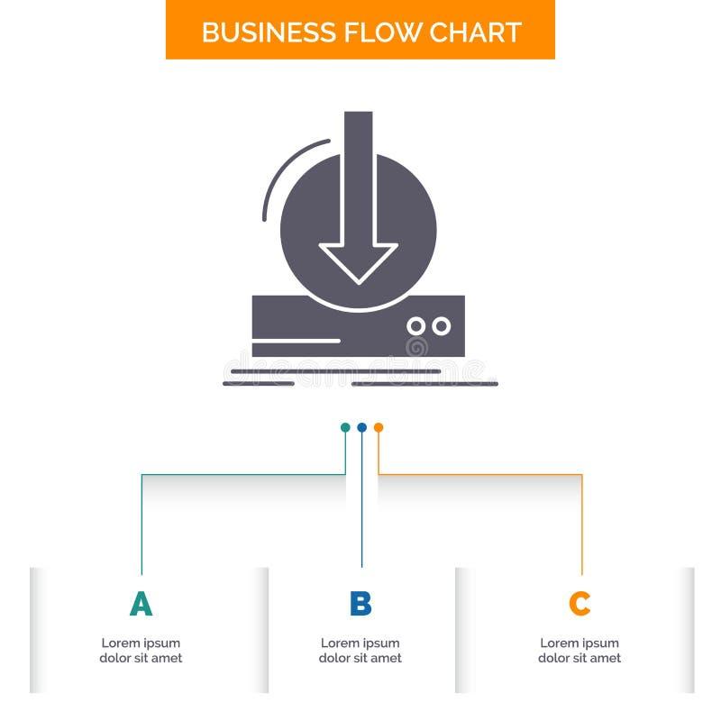Adición, contenido, dlc, transferencia directa, diseño del organigrama del negocio del juego con 3 pasos Icono del Glyph para la  libre illustration