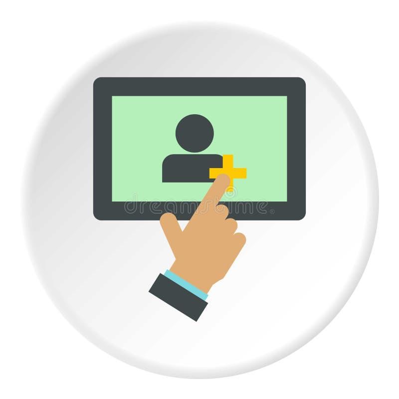 Adición de amigos en el círculo del icono de la tableta ilustración del vector
