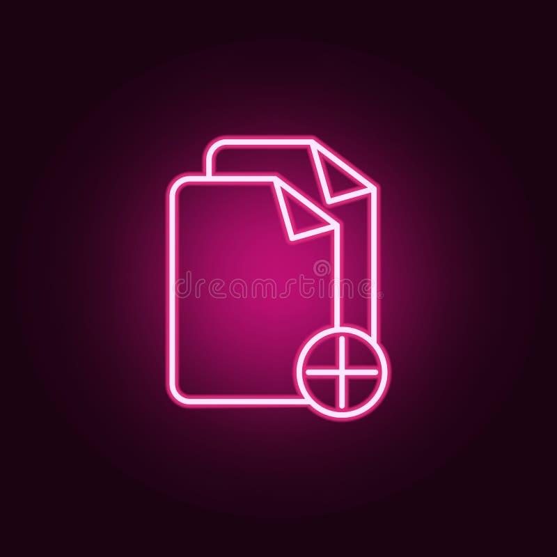 adici?n del icono de ne?n de las hojas Elementos del sistema de la web Icono simple para las p?ginas web, dise?o web, app m?vil,  stock de ilustración