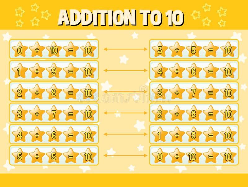 Adición a diez con las estrellas amarillas stock de ilustración