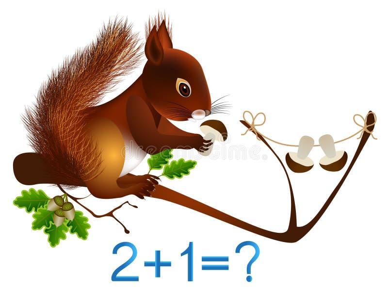 Adición matemática, formación número tres, juegos educativos para los niños libre illustration