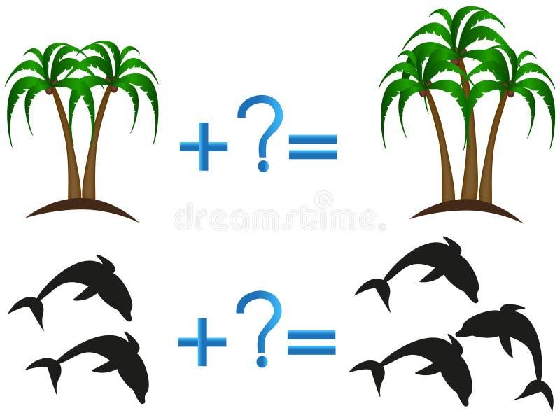 Adición matemática, juego educativo para los niños ilustración del vector