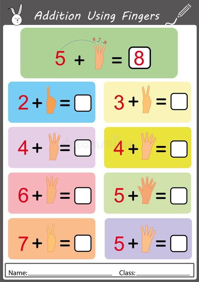 Adición usando los fingeres, hoja de trabajo de la matemáticas libre illustration