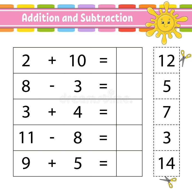Adición y substracción Tarea para los niños Hoja de trabajo que se convierte de la educación Página de la actividad Juego para lo ilustración del vector