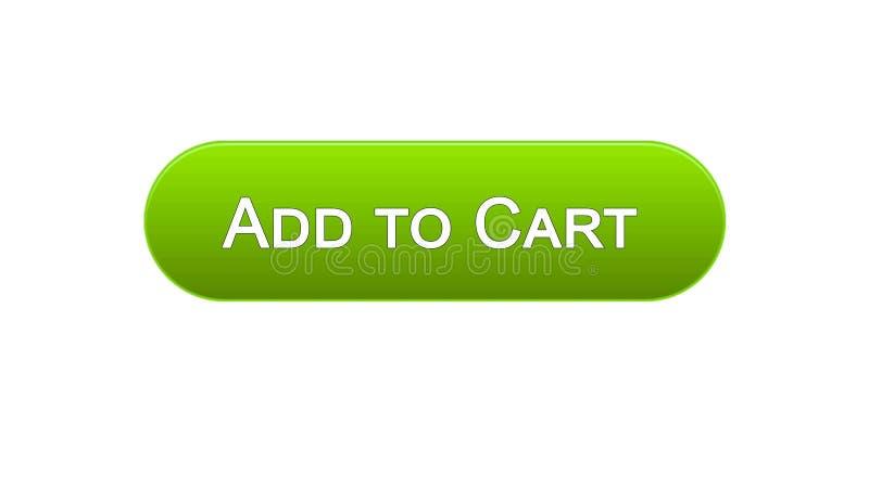 Adicione à cor verde do botão da relação da Web do carro, aplicação em linha da compra ilustração royalty free