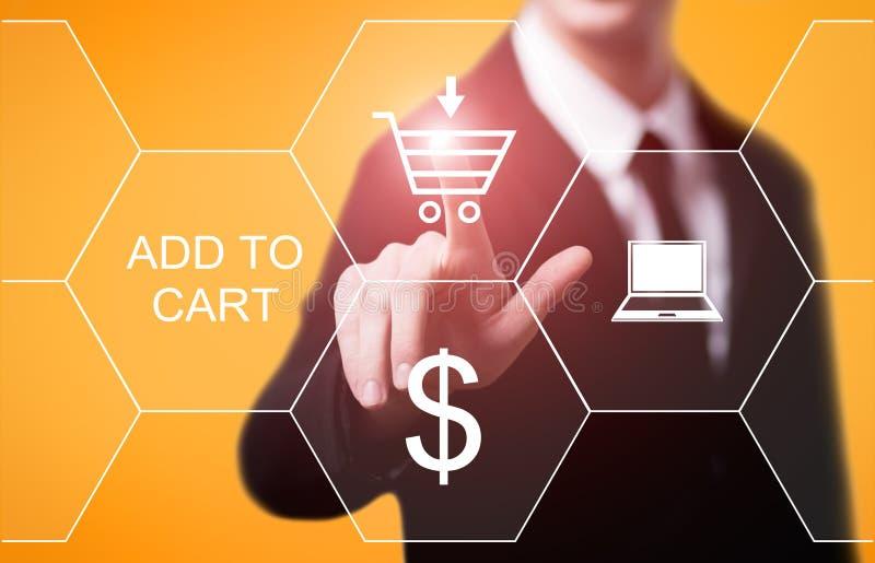 Adicione ao conceito em linha do comércio eletrônico da compra da loja da Web do Internet do carro fotografia de stock