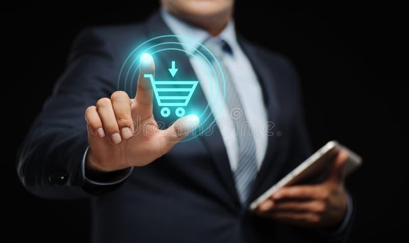 Adicione ao conceito em linha do comércio eletrônico da compra da loja da Web do Internet do carro fotografia de stock royalty free